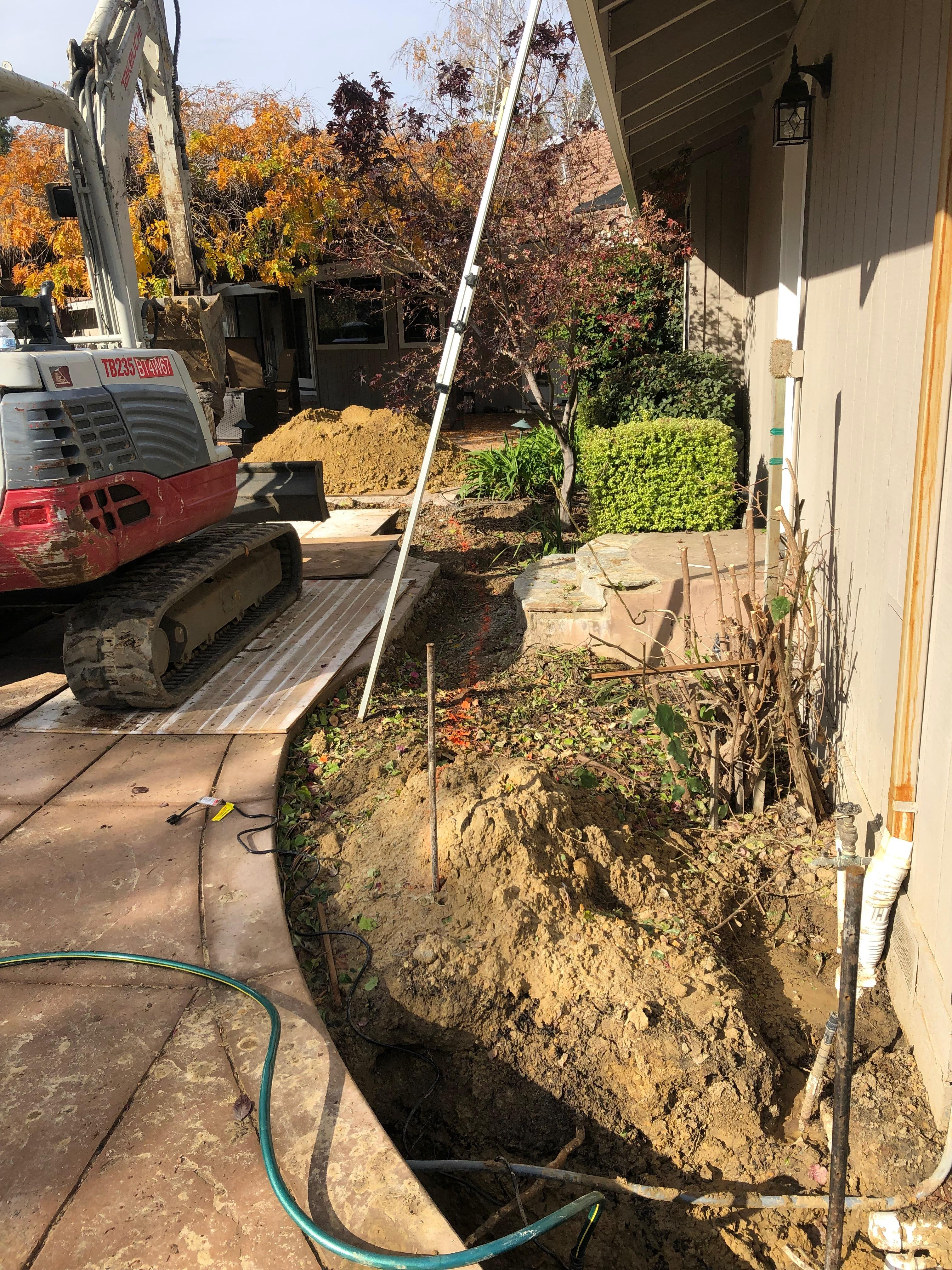 Trench for new sewer line